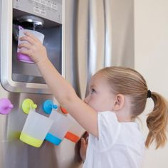 Where have these been? Cups from puj that clip to the fridge ! #babycenter