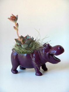 Plum Purple Hippopotamus Planter - Mini Modern Art Valentine by CoastalMoss on Etsy https://www.etsy.com/listing/97866187/plum-purple-hippopotamus-planter-mini