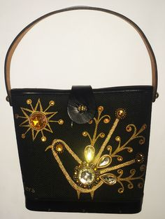 Fabulous 1960s Enid Collins 'Fine Feathers' bejeweled, leather trimmed purse / bag