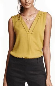 Specifications: Clothing Length:Long Pattern Type:Solid Sleeve Style:Regular Style:Fashion Fabric Type:Chiffon Material:Polyester Collar:V-Neck Sleeve Length:Sleeveless How can I choose my size? Blouse Styles, Blouse Designs, Curvy Women Fashion, Womens Fashion, Fashion Fabric, Work Attire, Pulls, Street Style Women, Casual Outfits