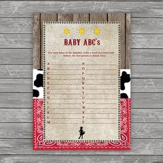 Cowgirl Baby ABC's Baby Shower Game Western Baby Shower