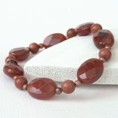 Carnelian ovals and copper stretchy bracelet £10.00