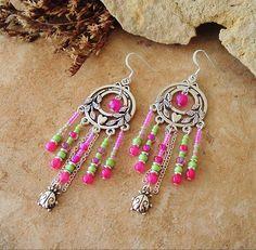 Boho Chandelier Earrings, Ladybug Garden, Pink and Green, Boho Hippie Chic Earrings, Original Handmade Bohemian Jewelry by Kaye Kraus by BohoStyleMe on Etsy