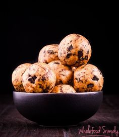 Cookie Dough Bliss Balls. Simple, delicious and free from gluten, grains, dairy, egg and refined sugar. Enjoy.