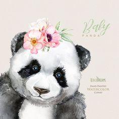 Watercolor Panda little animals clipart babies portrait Animal Paintings, Animal Drawings, Cute Drawings, Art D'ours, Art Mural, Wall Art, Little Panda, Panda Love, Watercolor Images