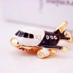 Rhinestone Airplane Keychains