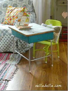 Child's desk... Paint old school desk & chair.
