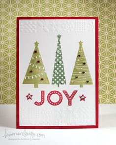 Holiday Card by Kristina Werner - I love this card. Love how she used a embossing folder on just the top and bottom.