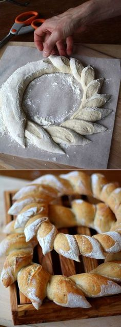 do a light bread for the ring and do a darker bread for the middle to make sunflower bread Pastry Design, Bread Shaping, Bread Art, Bread And Pastries, Artisan Bread, Bread Rolls, Creative Food, Food Design, Christmas Baking