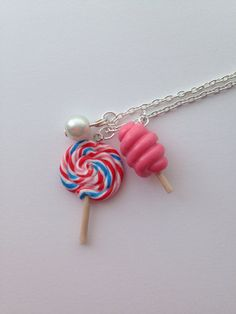 Lollipop and Cotton Candy Necklace, Handmade Polymer Clay Charms with Glass Pearl on Etsy, $10.24