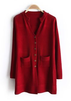 Red Pockets V-neck Single Breasted Knit Down Coat