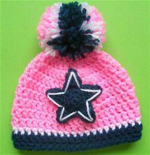 "Dallas Cowboys Crocheted Hat - Baby girl Cap Beanie Photo Prop 14"" ###"