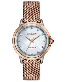Light up your look with this dazzling women's diamond-accent watch from Citizen Eco-Drive. Stainless Steel Mesh, Stainless Steel Bracelet, Mesh Bracelet, Bracelet Watch, Citizen Eco Drive Ladies, Pink And Gold, Rose Gold, Lady, Gold Watch