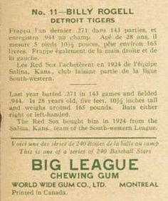 1933 World Wide Gum V353 #11 Billy Rogell Back