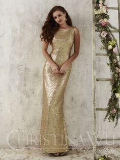Christina Wu Occasions 22704 is a fully sequined bridesmaid gown meant to capture light in a sparkling display. This design features a bateau neckline and a low cowl back. Funky Wedding Dresses, Designer Wedding Dresses, Bridal Dresses, Wedding Gowns, Sequin Bridesmaid, Bridesmaid Dress Styles, Bridesmaids, Gold Sequence Bridesmaid Dresses, Bridesmaid Gifts
