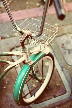 vintage bicycle fine art photograph turquoise by kathrynjune, $20.00