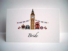 London Theme Wedding Place Card www.beadazzledesigns.co.uk