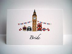 London Theme Wedding Place Card www.beadazzledesigns.co.uk