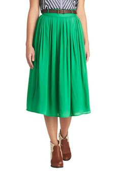 Swish and Spin Skirt in Green, #ModCloth