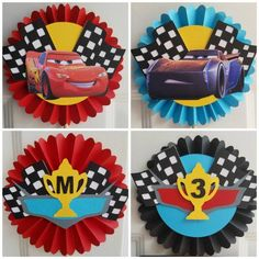 Disney Cars Centerpiece, Disney Cars Ros … - Top Of The World Disney Cars Birthday, Cars Birthday Parties, Birthday Party Decorations, Lightning Mcqueen, Piñata Cars, Disney Cars Characters, Car Centerpieces, Disney Cupcakes, Disney Invitations