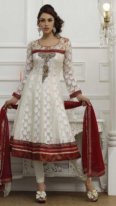 $153.02 Red Full Sleeve Brocade and Net Long Anarkali Salwar Kameez 18654