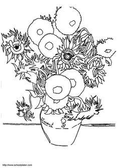 Dibujo para colorear Vincent Van Gogh - los girasoles. Ilustración - Imágenes para escuelas y educación: Vincent Van Gogh - los girasoles - Img 3781.