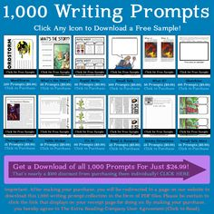 12 FREE Writing Prompt Printables~ Site has 1,000 in all for a price, of course!  But the freebies are worth a look!