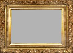 Gold Picture Frame With Delicately Carved Swirl Baroque Design. Beaded Border & Matching Gold Liner.