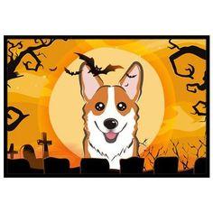 "Caroline's Treasures Halloween Corgi Doormat Rug Size: 1'6"" x 2'3"", Color: Gray/White/Brown"
