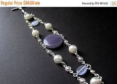MOTHERS DAY SALE Angelite Bracelet in Lilac Purple Silver and Pearls. Handmade Jewelry by Gilliauna by Gilliauna from Bits n Beads by Gilliauna. Find it now at http://ift.tt/2p97Law!