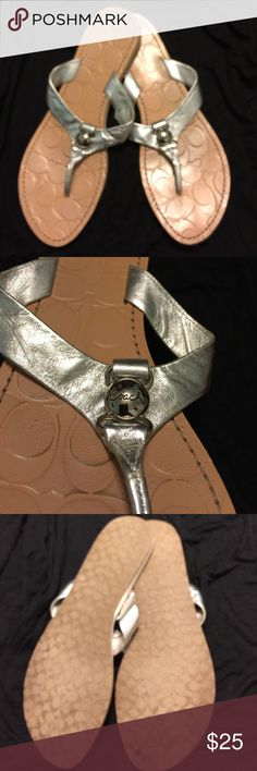 Coach Sandals Silver Coach sandals with silver hardware and skid proof soles. Very comfortable!! Coach Shoes Sandals