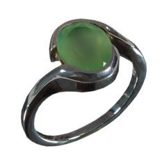 925 Solid Sterling Silver Ring Natural Chalcedony Green US Size 8.5 JSR-626 #Handmade #Ring