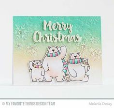 By MFT design team member Melania Deasy using BB Polar Bears Pals stamp & die set. Ink blended & dry embossed background with simple die cut sentiment
