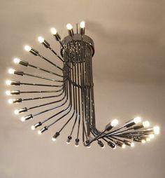 Ingo Maurer; Chromed Metal Ceiling Light for Design M, 1960s.