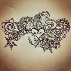 Paisley heart tattoo sketch