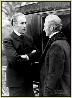 Christopher Lee and Peter Cushing, behind the scenes of Dracula A.D. 1972, via The Peter Cushing Appreciation Society.