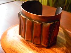 Form folded copper two layer cuff bracelet, patina, hammer texture
