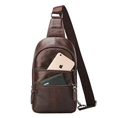 Bison Denim Mens Leather Shoulder Bag Crossbody Sling Hiking Satchel Chest Bags Pack Small *** You can get more details by clicking on the image.