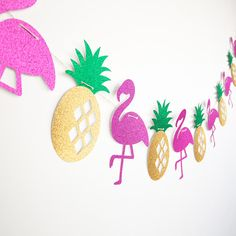 Flamingo and Pineapple Banner | Flamingo Party | Pineapple Party | Tropical Party | Flamingo Party Decor | Let's Flamingle | Gold Pineapple