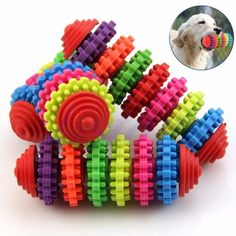 Colorful Rubber Pet Dog Puppy Dental Teething Healthy Teeth Gums Chew Toys