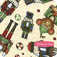 Not A Creature Was Stirring Green Tossed Nutcrackers Yardage