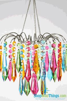 """Chandelier  """"Bejeweled""""  Neon Colors $64.99  for the kids' bathroom?                                                                                                                                                                                 More"""