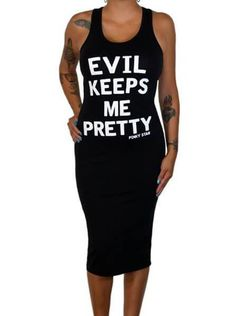 """Save on Women's """"Evil Keeps Me Pretty"""" Fitted Tank Dress by Pinky Star (Black) atåÊInkedShop.com, and get coupon codes and deals everyday!"""