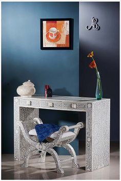 jodhpurtrends.com Designer Grey Bone Inlay Console Table with Roman Stool | Bone Inlaid Laptop Table | Bone Inlay Furniture