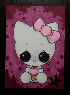 Sugar Fueled Hello Kitty Sanrio lowbrow creepy cute big eye ACEO mini print