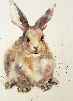 Dark Hare Bunny Rabbit Art Watercolor Painting Wall by artiart