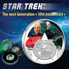 STAR TREK™ - The Next Generation - 30th Anniversary  1 Oz Silver - Proof Coin in Color available from EMK.com