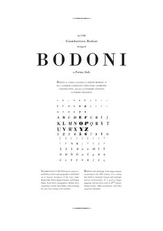 Bodoni is a series of serif typefaces first designed by Giambattista Bodoni (1740–1813) in 1798. The typeface is classified as Didone modern. Bodoni followed the ideas of John Baskerville, as found in the printing type Baskerville: increased stroke contrast and a more vertical, slightly condensed, upper case; but took them to a more extreme conclusion.