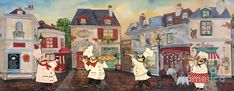 Whimsical Italian Chefs outside an Italian Bistro in a street scene, showing off their beautiful food! Painted by Jean Plout. Italian Chef, Italian Bistro, Fine Art Prints, Canvas Prints, Food Painting, Le Chef, Decoupage Paper, Art Pages, Fine Art America