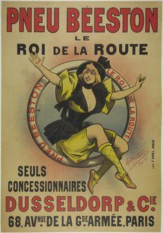 "Pneu Beeston / Artist: Alfred Choubrac / Origin: France - c. 1890 / 32 x 48 in (81 x 122 cm) / ""Beeston Tires King of the Road"""